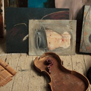 Painting  with a broke violin